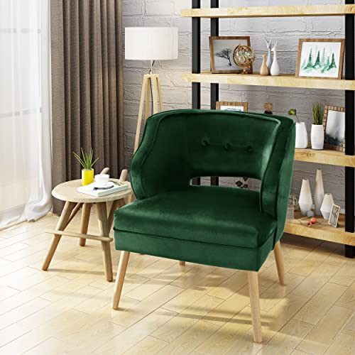 Christopher Knight Home Mariposa Mid-Century Velvet Accent Chair, Emerald Natural