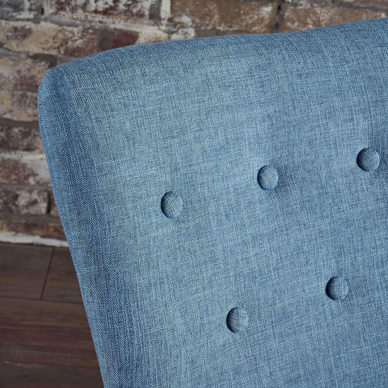 Christopher Knight Home Callum Mid-Century Fabric Rocker, Muted Blue / Light Walnut