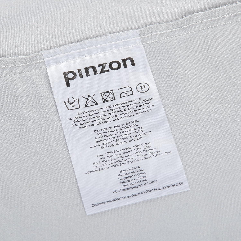 80x80cm Pinzon Wendekissenbezug aus Maulbeerseide und Baumwolle Silber