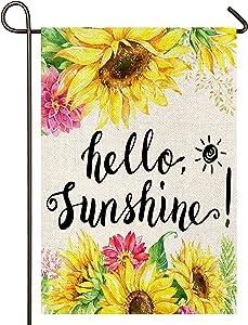 Atenia Hello Summer Sunflower Burlap Garden Flag, Double Sided Garden Outdoor Yard Flags for Summer Decor (Garden Size 12.5