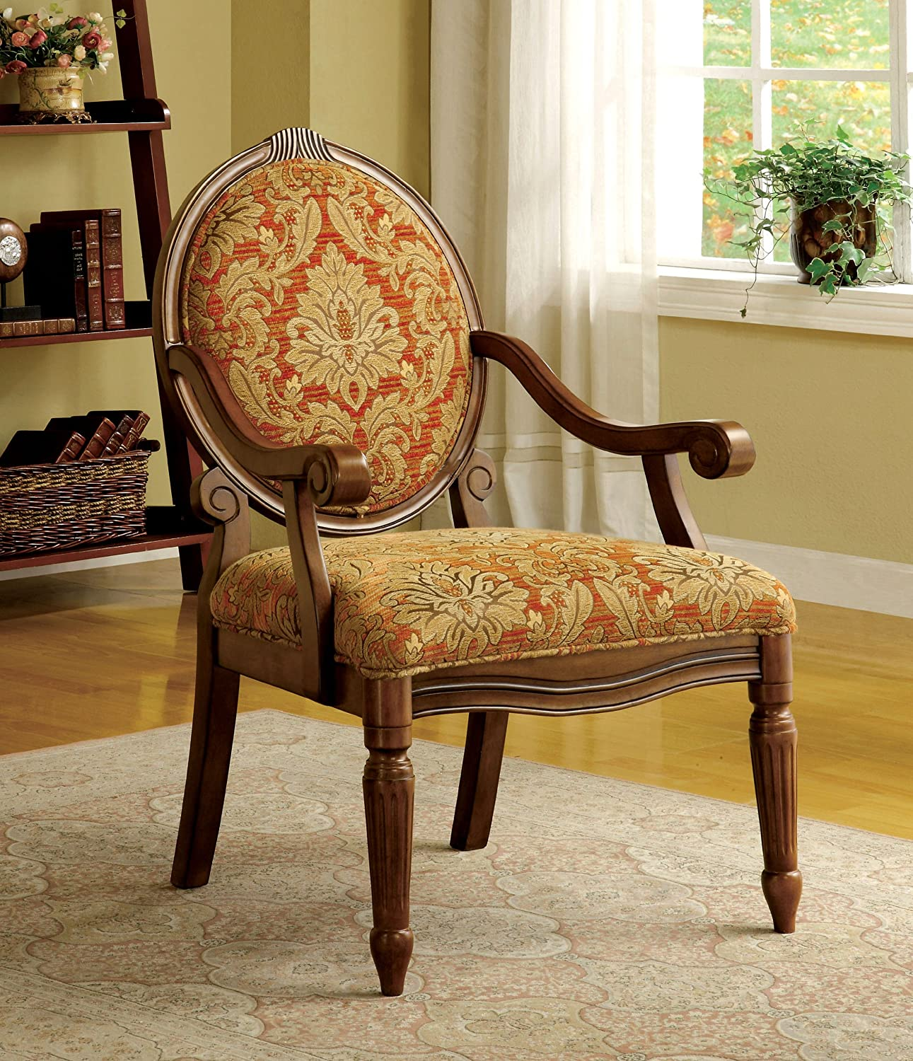 Amazon.com: Furniture Of America Gwyneth Victorian Style Padded Fabric Arm  Chair, Antique Oak Finish: Kitchen U0026 Dining