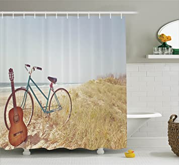 Amazon Com Ambesonne Vintage Decor Shower Curtain An Old Guitar