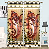 Ganesha For Temple Digital Print With High Resolution Photography Curtain For Door