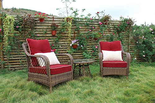 N V Patio Outdoor Furniture Sets 3 Pieces Wicker Chairs with Glass Coffee Table Pillows Cushions Outdoor Indoor Use Porch Backyard Garden