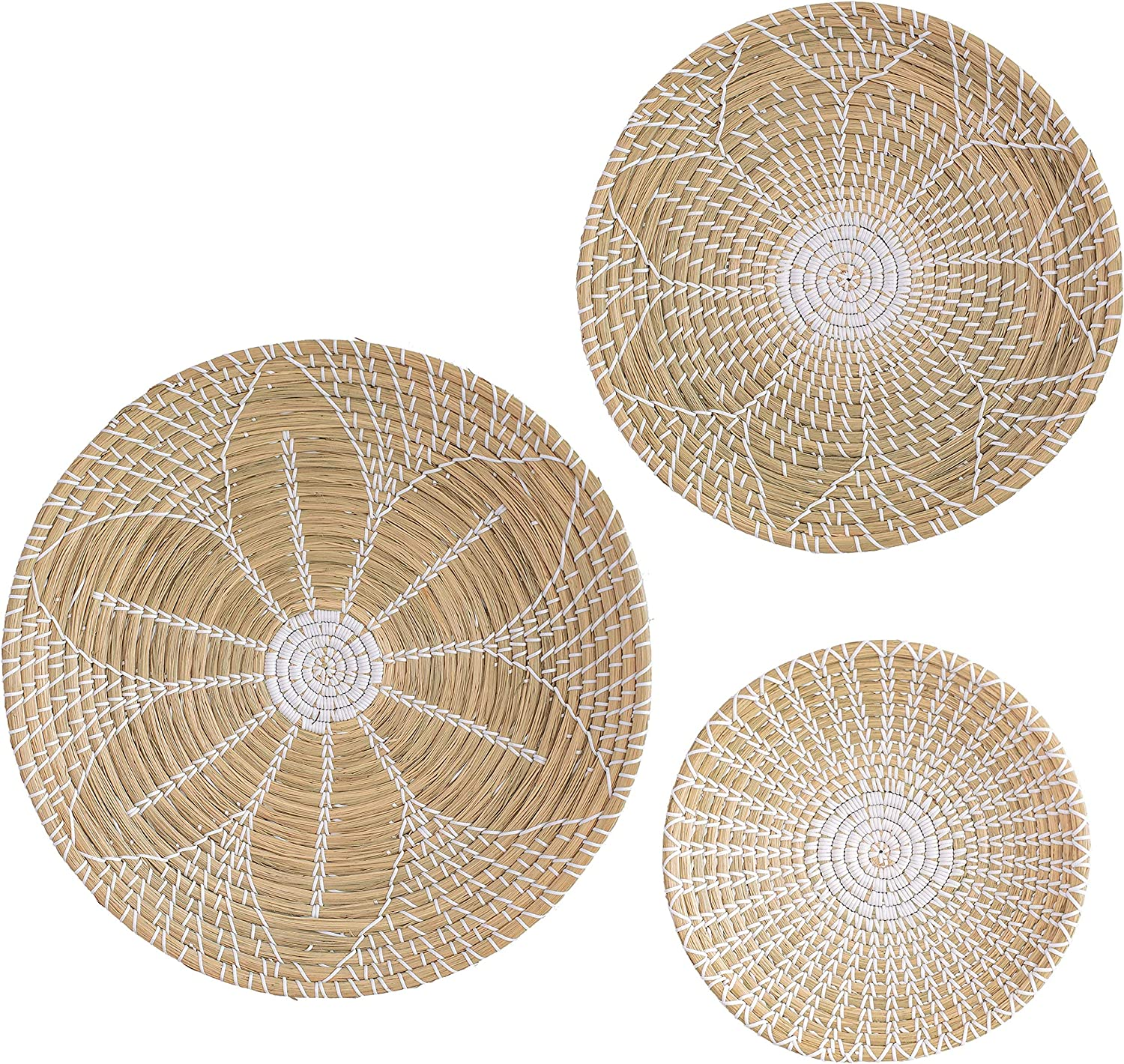Artera Wicker Wall Basket Decor - Set of 3 Hanging Woven Seagrass Flat Baskets, Round Boho Wall Basket Decor for Living Room or Bedroom, Unique Wall Art