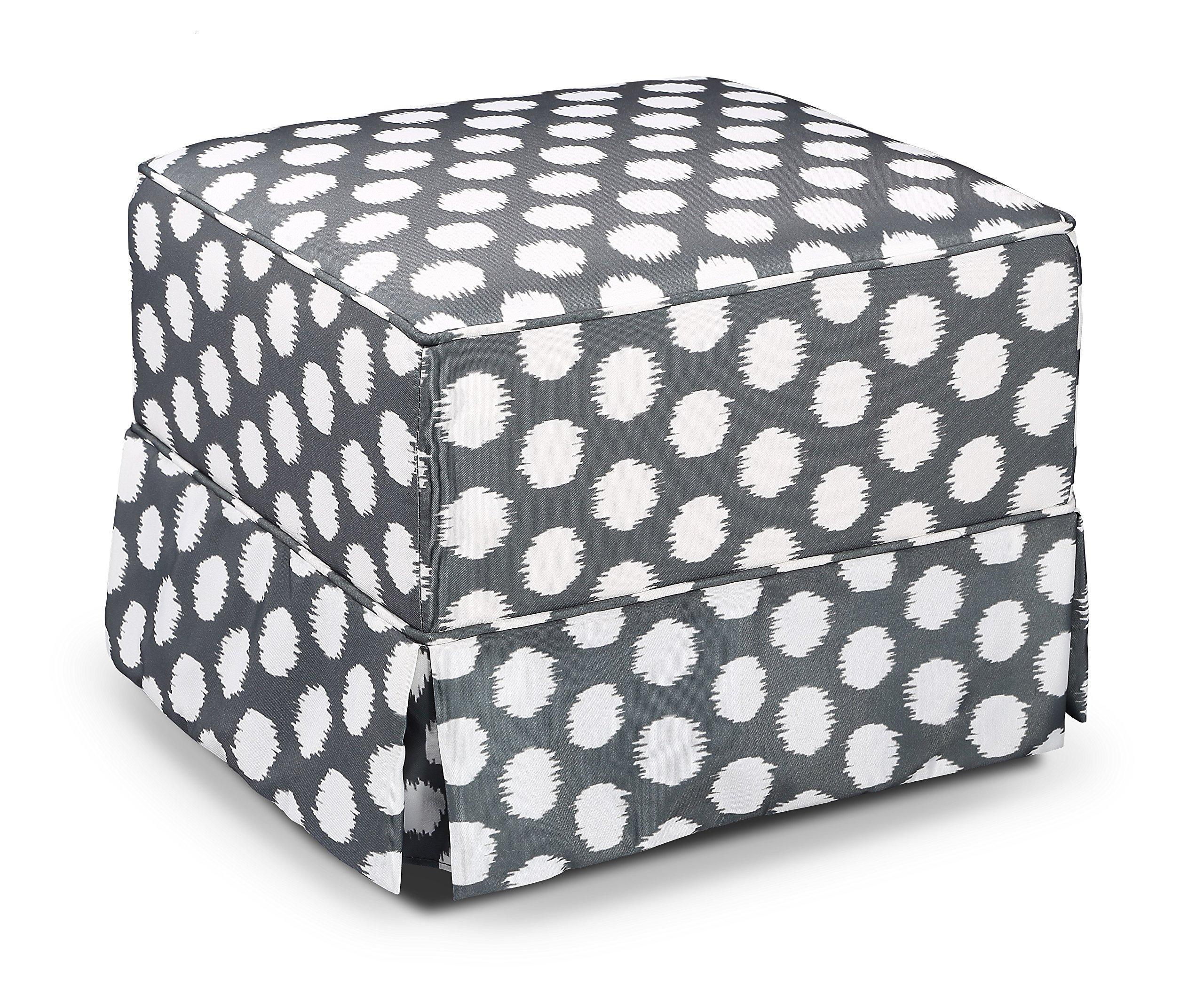 Storkcraft Polka Dot Upholstered Ottoman, Gray/White, Cleanable Upholstered Comfort Rocking Nursery Ottoman by Storkcraft