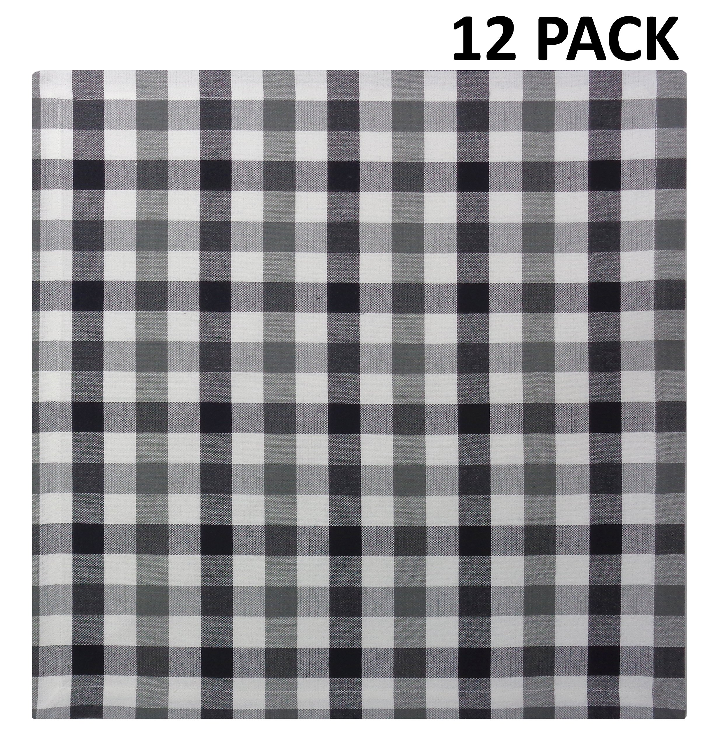 Cotton Craft 12 Pack Gingham Checks Oversized Dinner Napkins - Black Grey - Size 20x20-100% Cotton - Tailored with Mitered Corners and a Generous Hem - Easy Care Machine wash by Cotton Craft (Image #2)