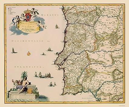 Amazon.com: Old Iberian Peninsula Map - Portugal - Visscher ...