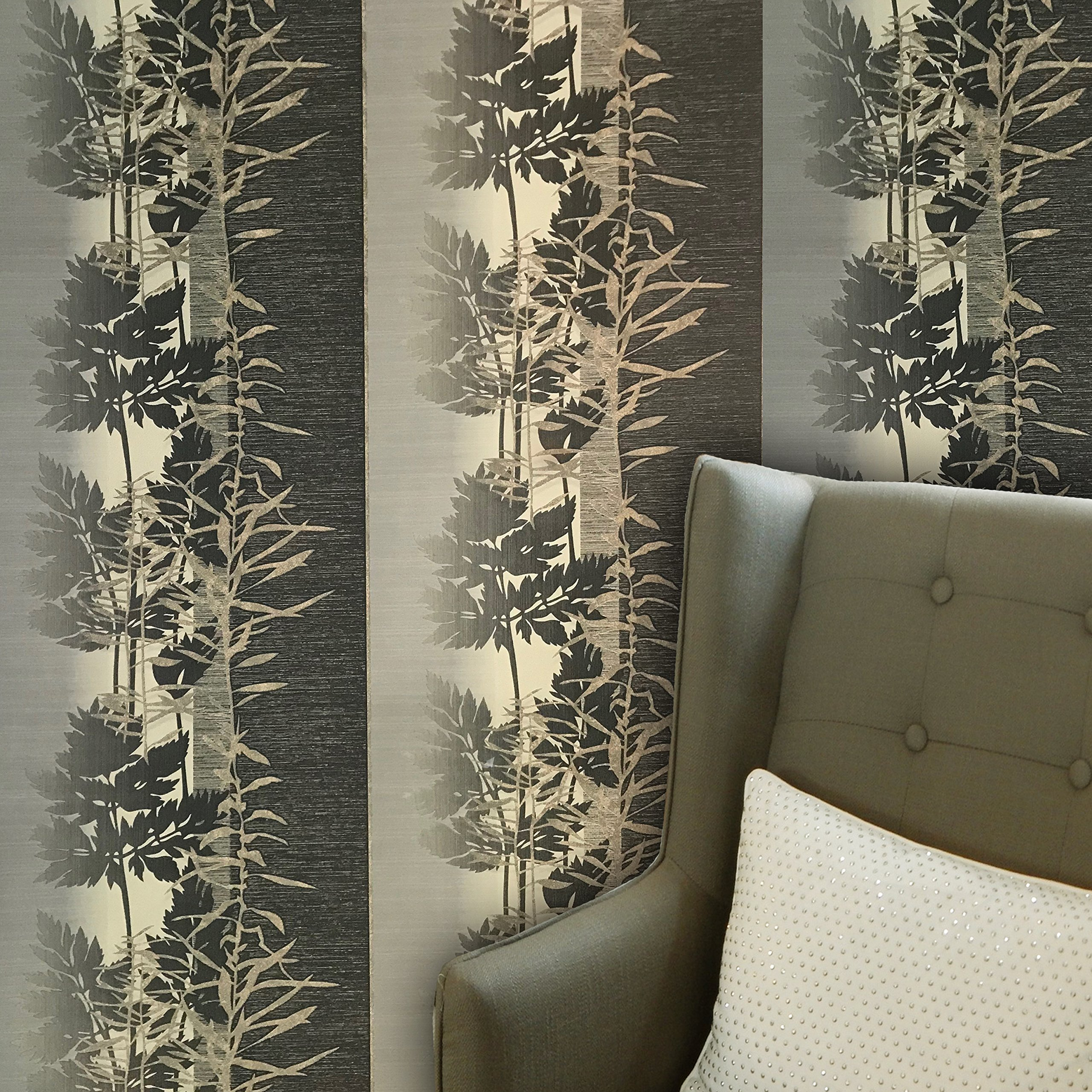 paste the wall only Embossed modern Slavyanski wallcoverings rolls floral forest trees tree pattern Vinyl Non-Woven Wallpaper grey beige gray bronze gold metallic green hue textured striped stripes 3D by Slavyanski