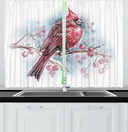 Lunarable Cardinal Kitchen Curtains, Red Bird On A Branch With Holly  Berries Perching Avian Animal