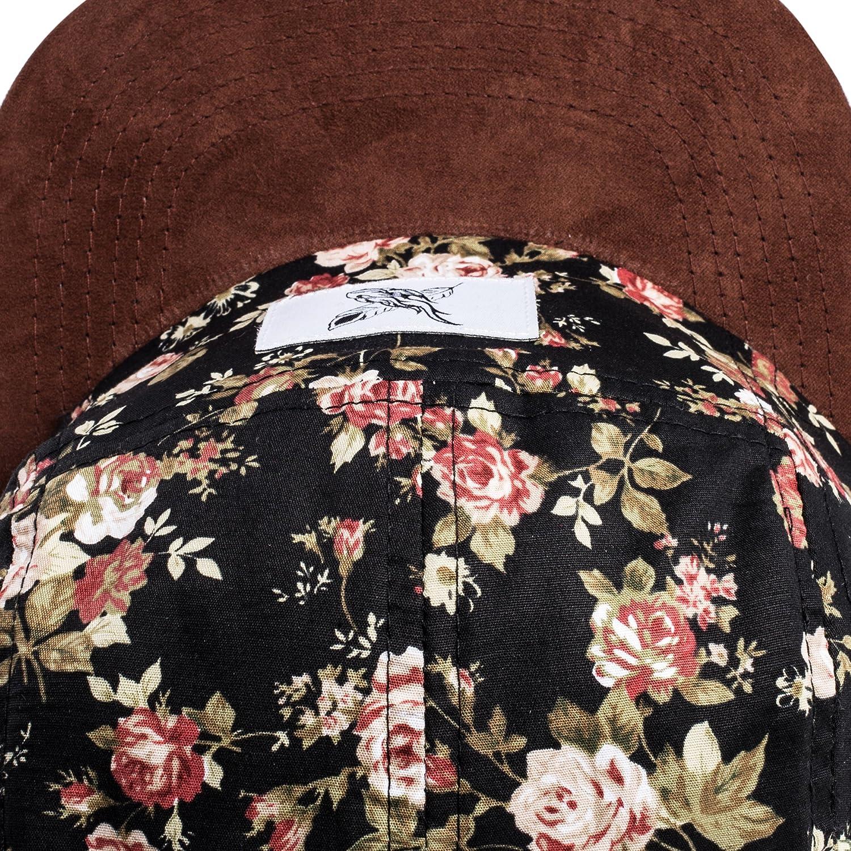 Hat Floreale Berretto da Baseball Floreale Fiori Uomo Donna Cappello Snapback Rosa Nero Scamosciato II 5-Panel cap Blackskies Black Beauty Vol
