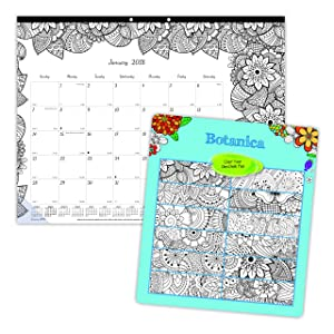 Blueline 2018 Monthly Coloring Desk Pad Calendar, Botanica, January - December, 22 x 17 inches (C2917311-18)
