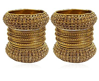 7ee56969f8e65 YouBella Fashion Jewellery Traditional Gold Plated Bracelet Bangles Set for  Girls and Women (Size - 2.4)  Amazon.in  Jewellery