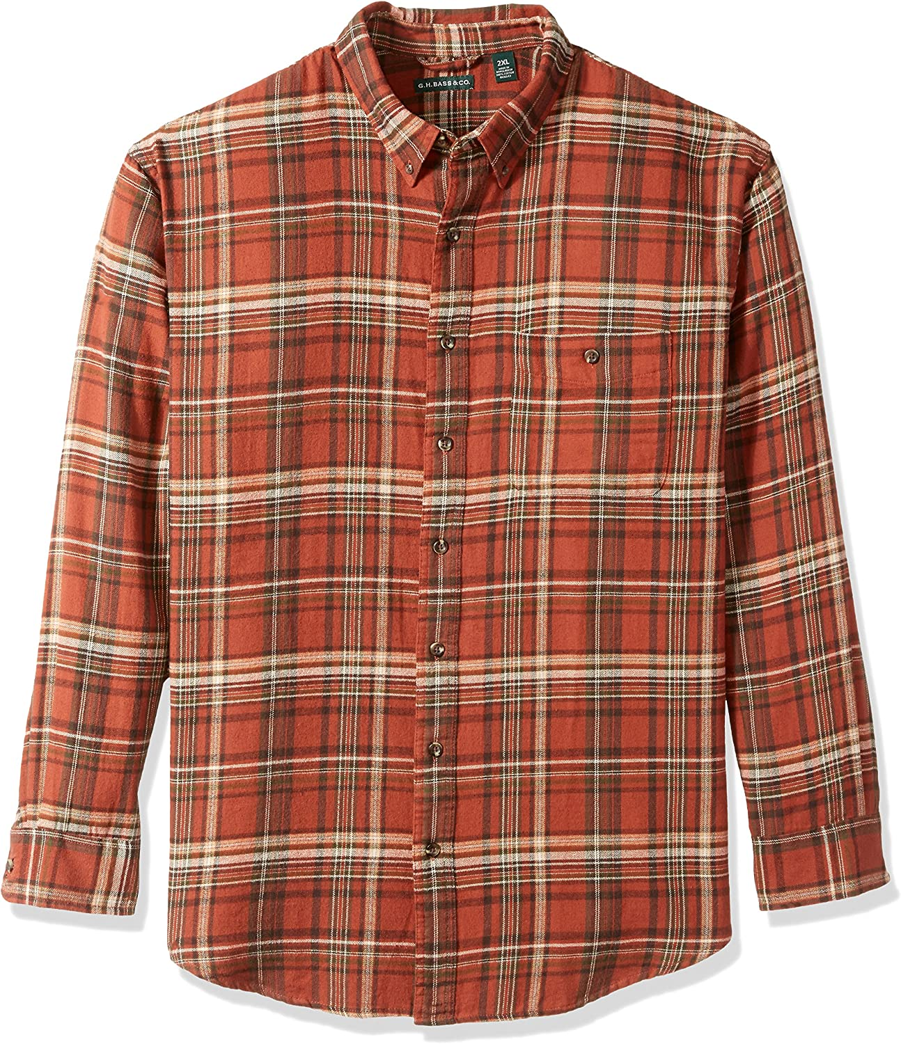 Bass /& Co Mens Big-Tall Big and Tall Fireside Flannel Plaid Long Sleeve Shirt G.H