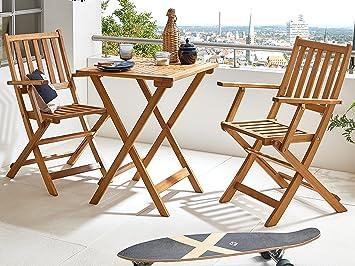 SAM® Robuste salon de jardin, 3 pièces, en bois d\'acacia, 1 x table ...