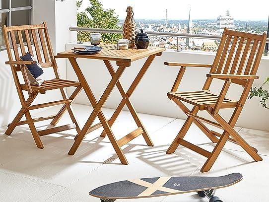 SAM® Robuste salon de jardin, 3 pièces, en bois d\'acacia, 1 x ...