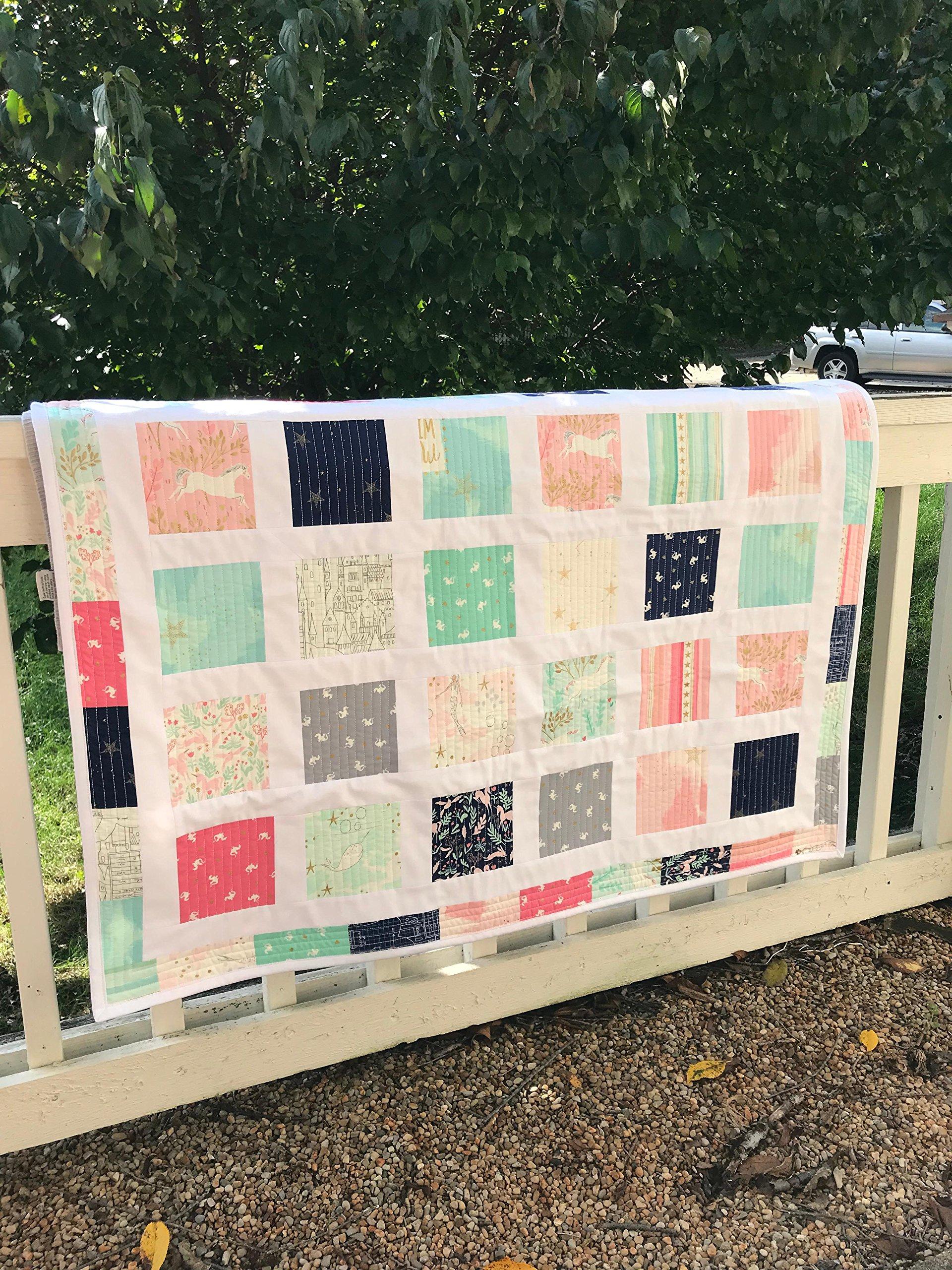 Mermaid Quilt - Unicorn Quilt - Baby Quilt - Toddler Bedding - Homemade Baby Quilt - Baby Blanket - Heirloom Quilt - Modern Baby Quilt