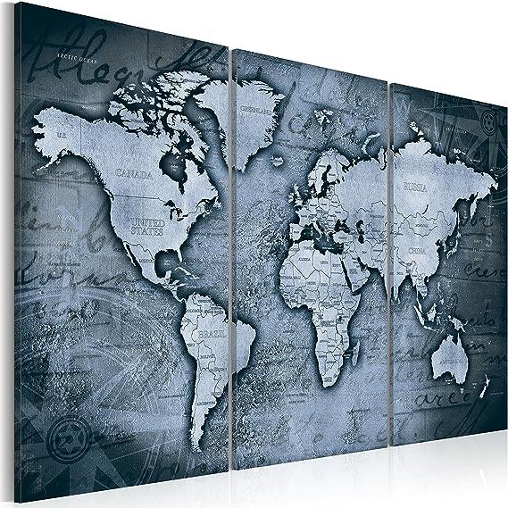 murando Tablero De Corcho & Cuadro en Lienzo 60x40 cm No Tejido XXL Estampado Memoboard Decoración De Pared Impresión Artística Fotografía Gráfica Poster Mapamundi Mapa Mundo - k-A-0066-p-d: Amazon.es: Hogar