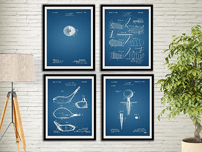 golf office decor. Golf Patent Art Prints Blue Print Set Gifts For Men Office Decor Sports Wall