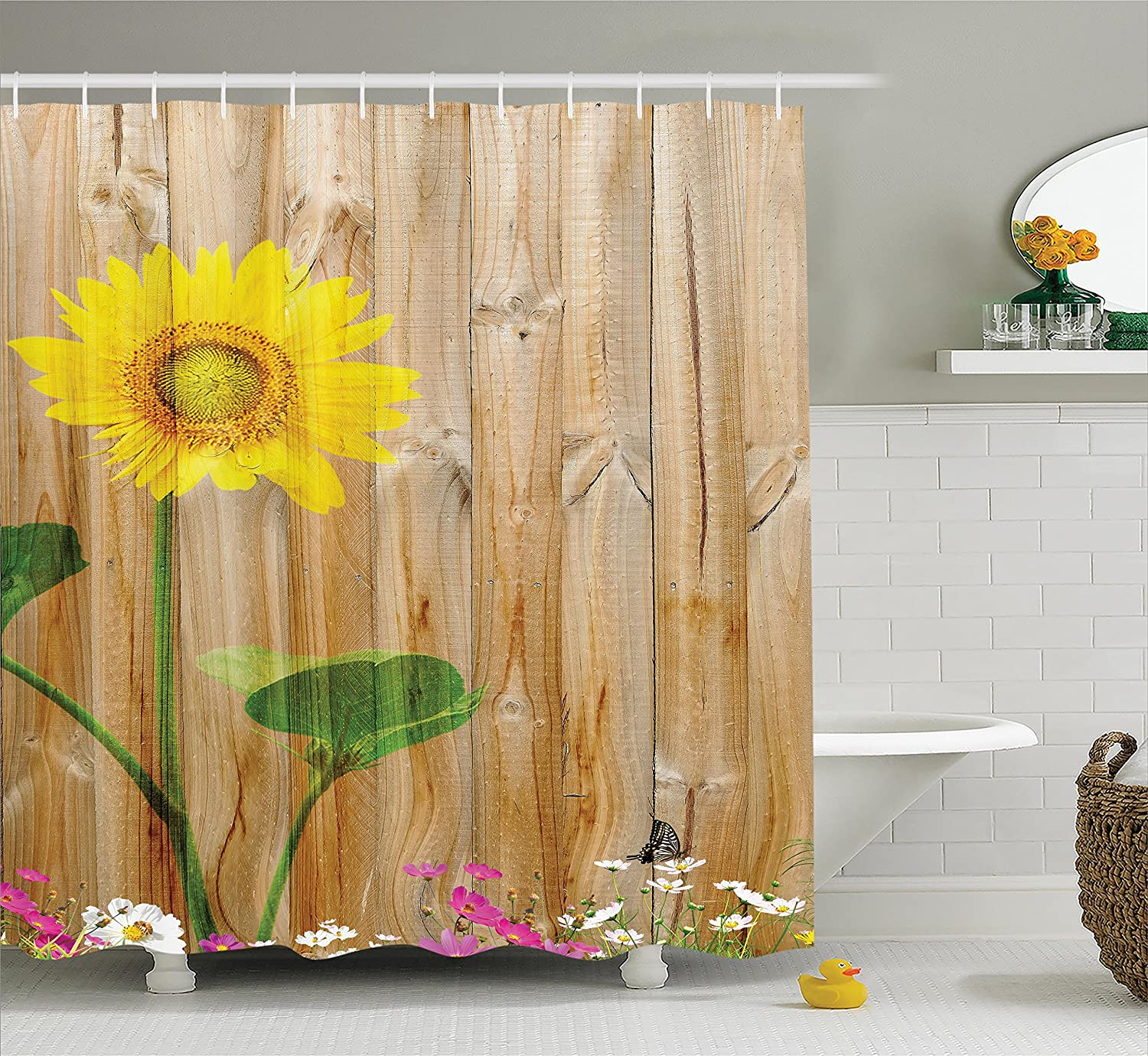 Sunflower Shower Curtain Set with Hooks by Ambesonne, Sunflower Painting on Wooden Background Vertical Timber Countryside Fence Picture Print, Yellow Green and Light Brown