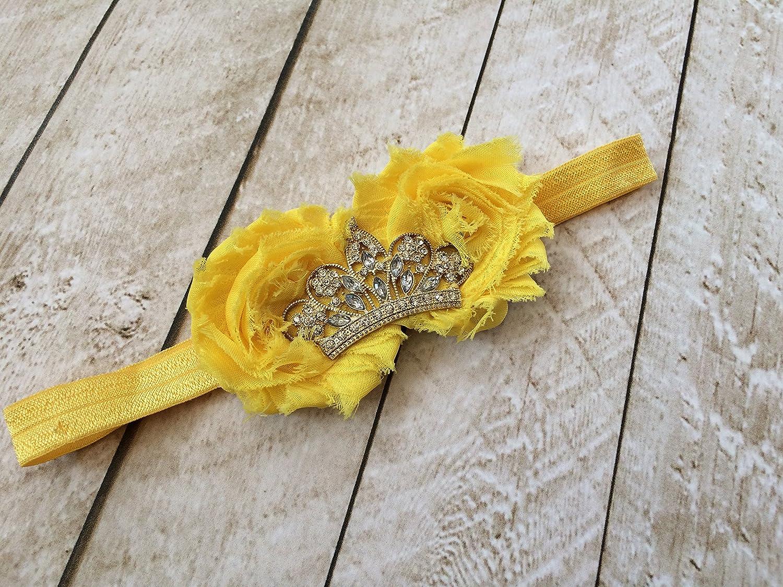 Amazon Yellow Princess Crown Flower Dress Up Headband Handmade