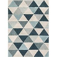Overstock.com deals on Metz Blue & Gray Mid-Century Geometric Area Rug 7.10 x 10.3ft