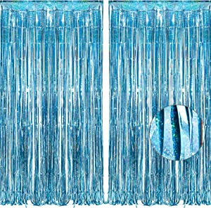 BRAVESHINE 2 Pack 3.2 ft x 8.2 ft Tinsel Foil Fringe Curtains Metallic Photo Booth Backdrops Party Supplies for Birthday Wedding Christmas Bridal Shower Bachelorette Holiday Decorations - Light Blue