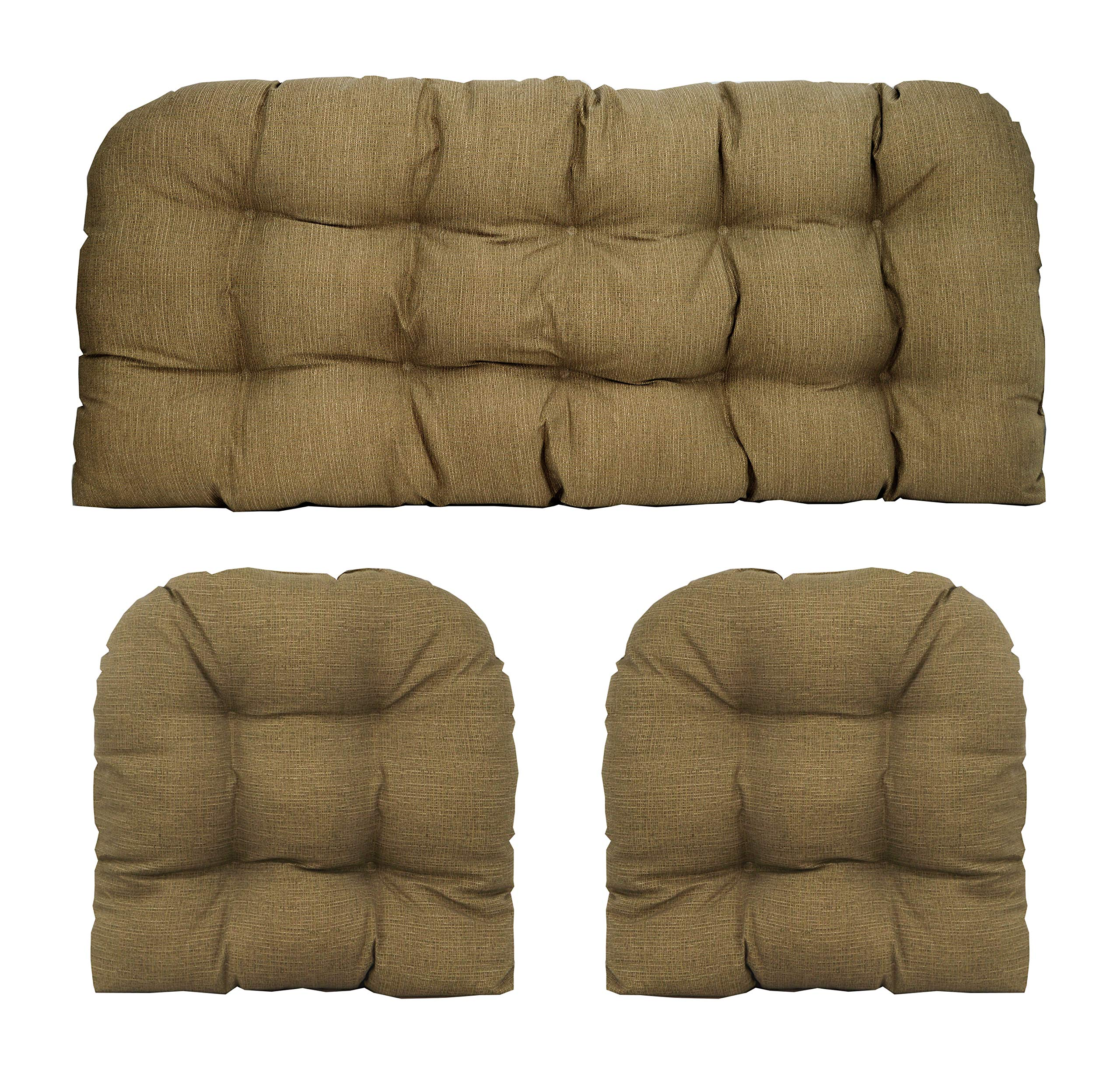 RSH Décor Indoor/Outdoor Wicker Cushions Two U-Shape and Loveseat 3 Piece Set (Faux Burlap)