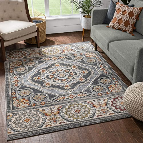 Well Woven Algie Grey Tribal Medallion Flat-Weave Hi-Low Pile Area Rug 8×10 7 10 x 9 10