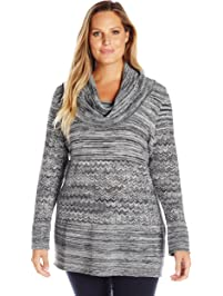 c5be546dace Heather B Women s Plus Size Cowl Neck Marled Tunic