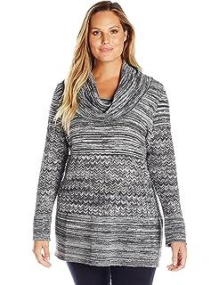 632c5ef0de8 Rafaella Women s Plus Size Cowl Neck Knit with Fringe