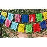 """Mexican PLASTIC Fishtail Papel Picado Banner """"Flor de Sol"""" - Design & Colors as Pictured by Paper Full of Wishes"""