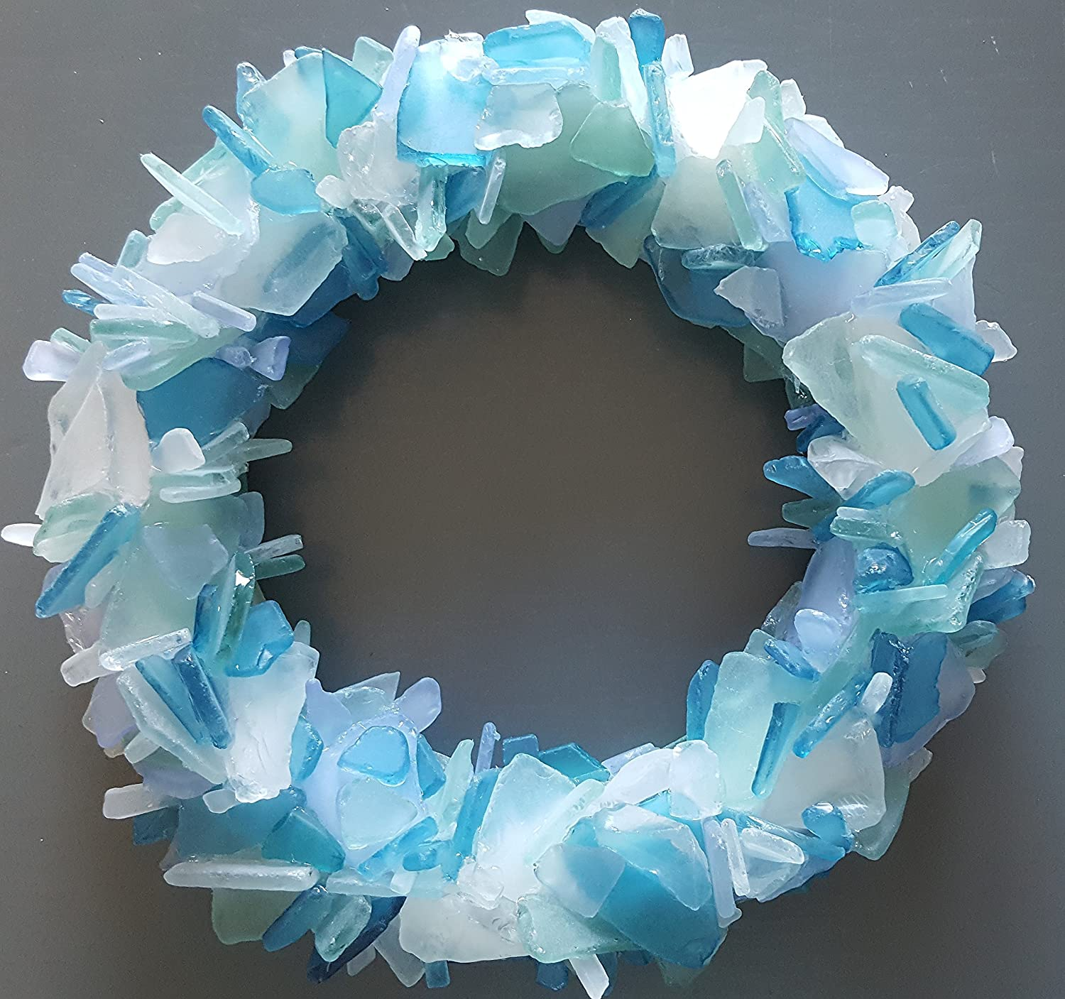 Beach Decor Sea Glass Wreath - Nautical Beach Glass Wreath - Sea Glass Art in ANY GORGEOUS COLOR - 12