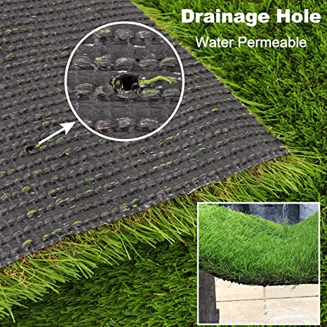 Amazon Com Artificial Grass Turf Lawn Fake Grass Mat Thick Synthetic Turf Rug Indoor Outdoor Carpet Garden Lawn Landscape Rubber Backed With Drainage Holes High Density Height 1 38inch Garden Outdoor