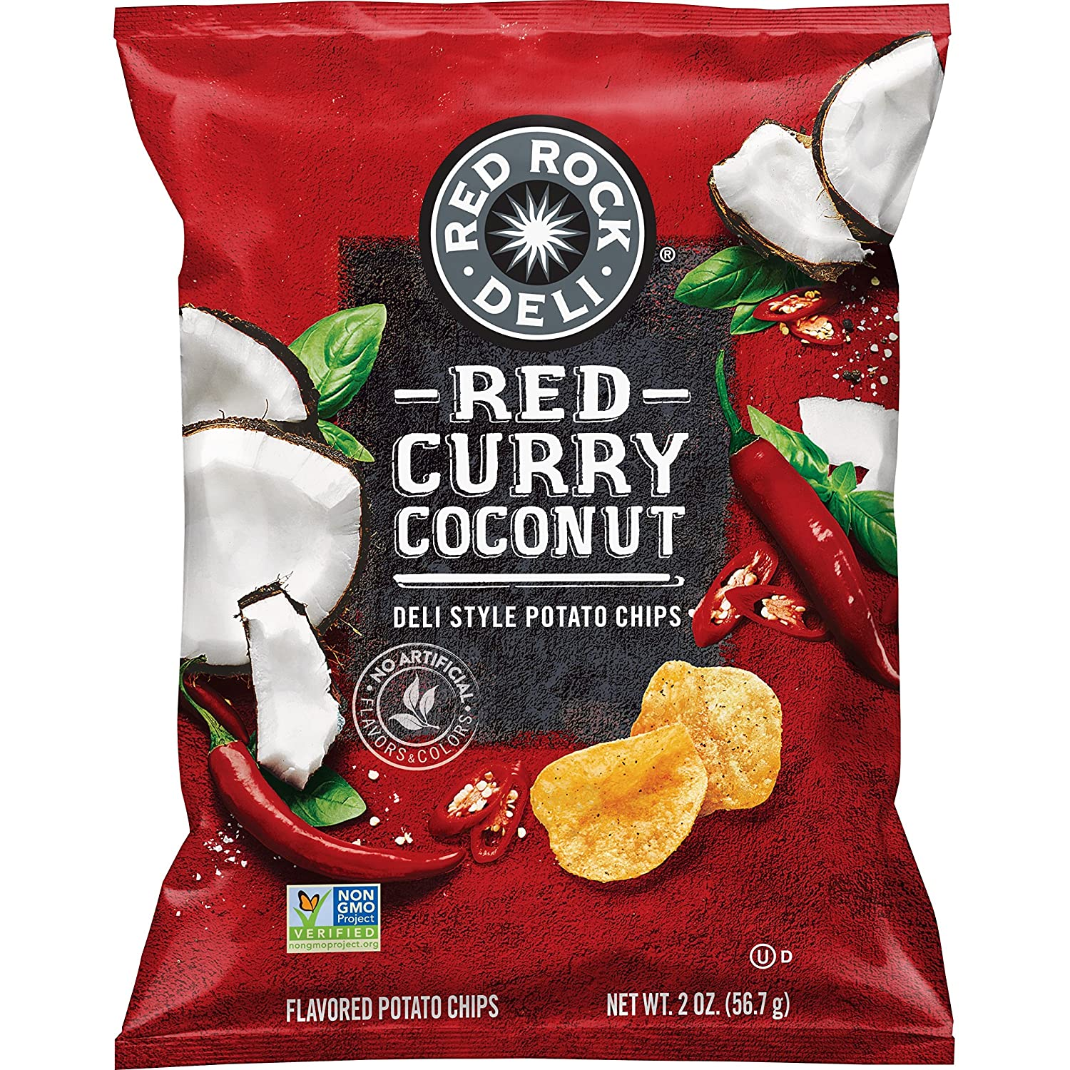 Red Rock Deli Style Potato Chips, Red Curry Coconut, 2 Ounce (12 Count)