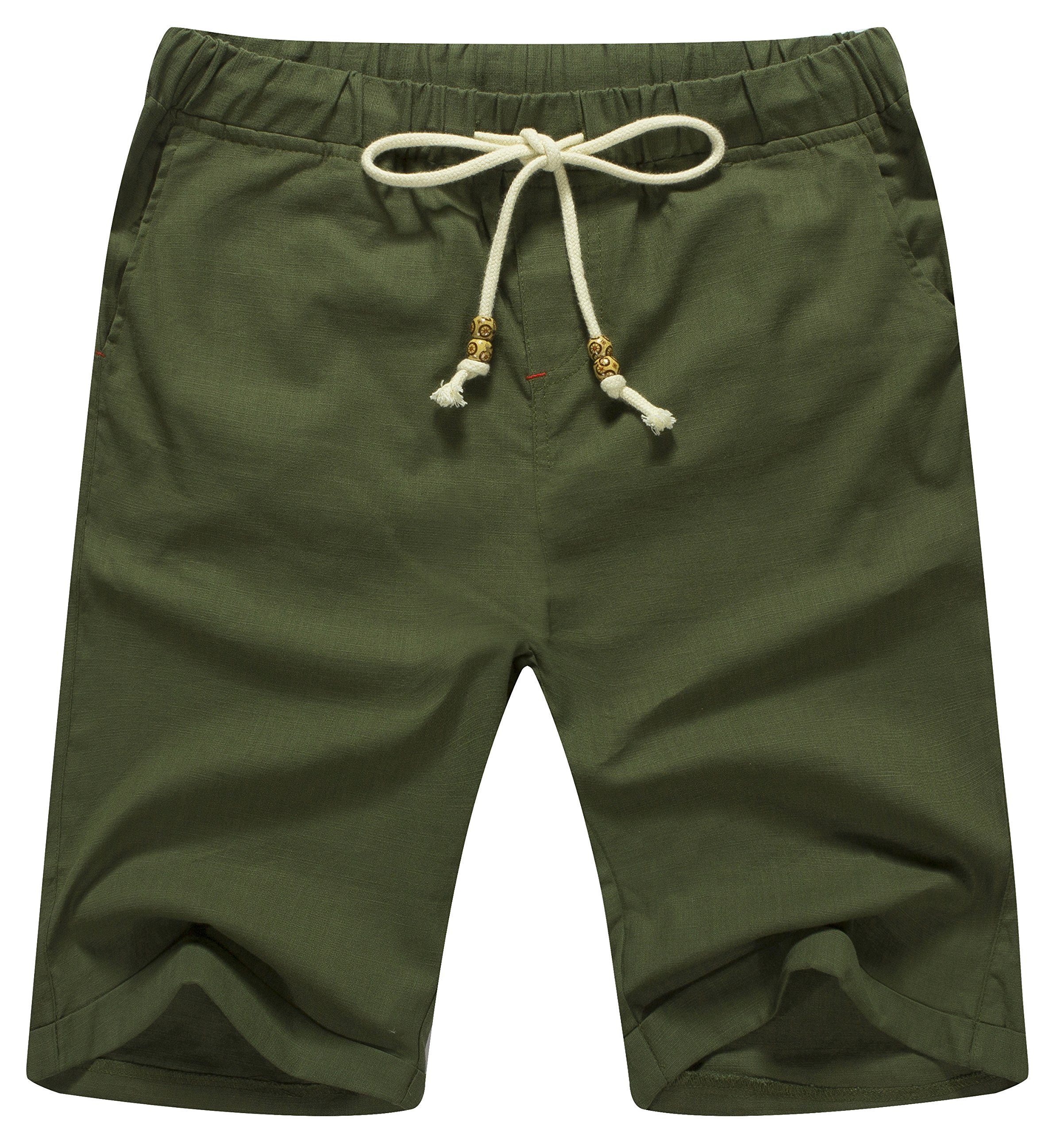 ZYFMAILY Men's Linen Casual Classic Fit Short Drawstring Summer Beach Shorts (XL, Army Green)