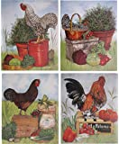 Rooster Chicken Farm Animal Four 8x10 Set Picture Kitchen Wall Decor Art Print Posters
