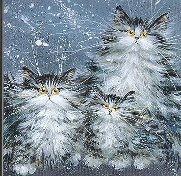 Fluffy de gato familia gatos gato cualquier ocasión/Navidad en blanco Tarjeta de felicitación: Amazon.es: Oficina y papelería