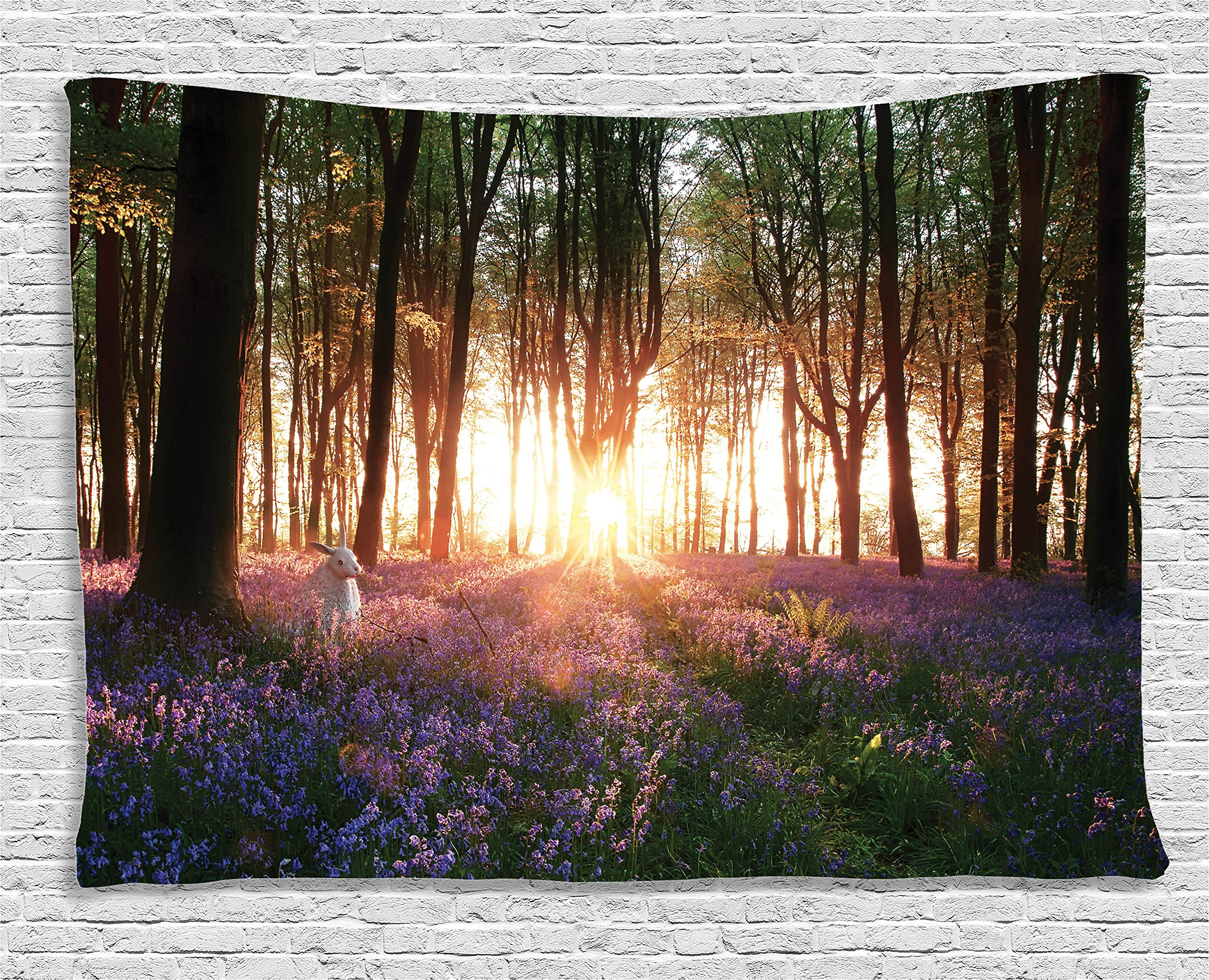 Ambesonne Floral Tapestry Forest Decor, Stunning Bluebell Woods Sunrise with Rabbit Sunny Spring Day in Woodland, Bedroom Living Room Dorm Wall Hanging, 60 X 40 inches, Purple Green Brown