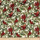 A Festive Season Metallic Birds in Bough Nestled Cream Fabric By The Yard