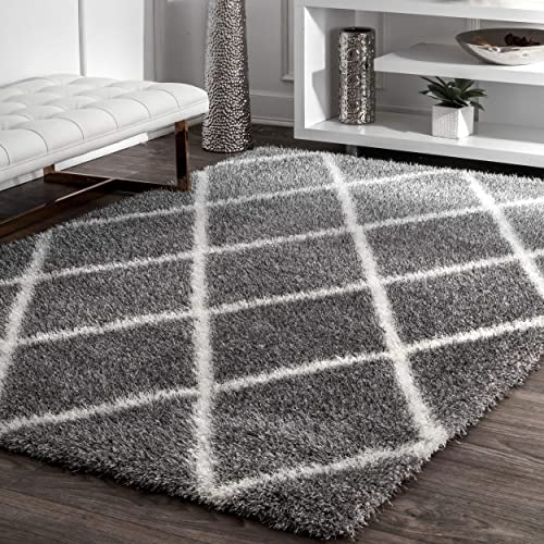 nuLOOM Diamond Soft Plush Shag Rug, 9 2 x 12 , Ash