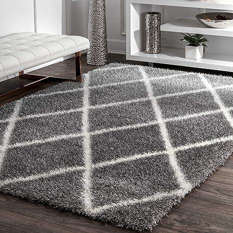 Amazon Com Nuloom Diamond Soft Plush Shag Rug 5 3 X 7 6 Ash Furniture Decor