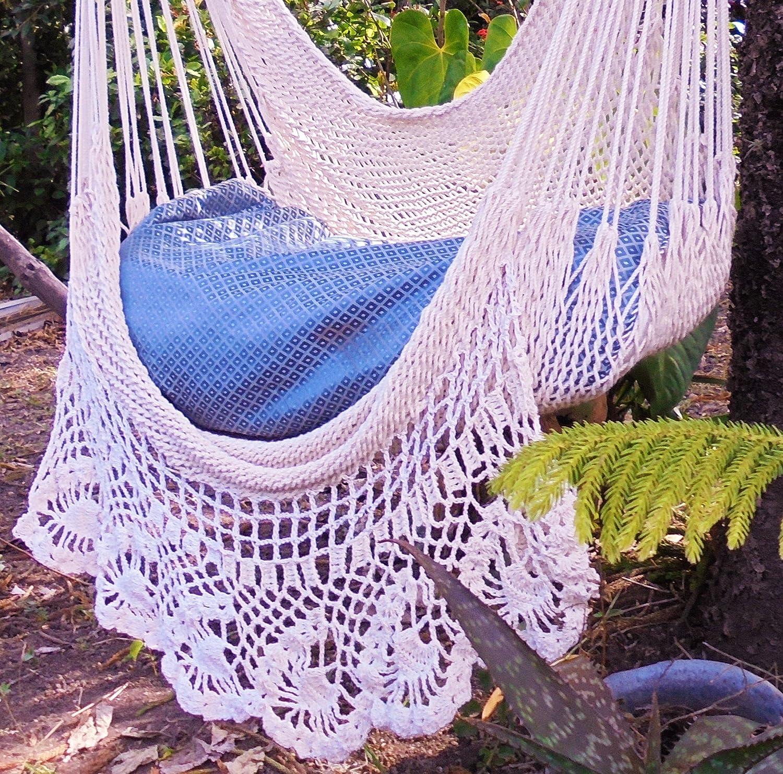 Amazon Beautiful Crochet Hammock Chair Beige Cotton 100