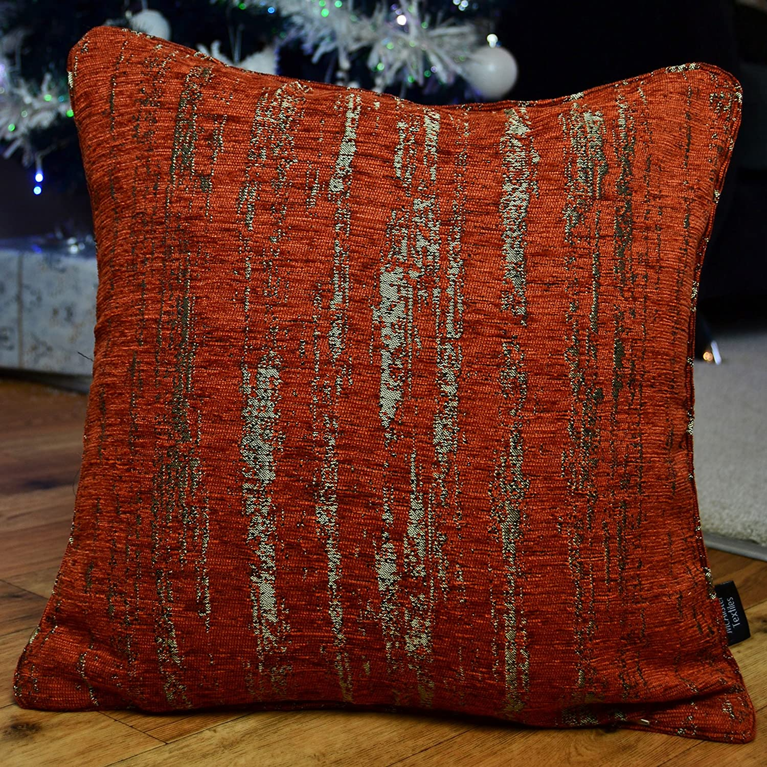 McAlister Textiles Textured Chenille Pillow Case | Burnt Orange Metalic  Striped Pattern Bedroom Decor Throw Couch Cushion for Bedroom Sofa Living  Room ...