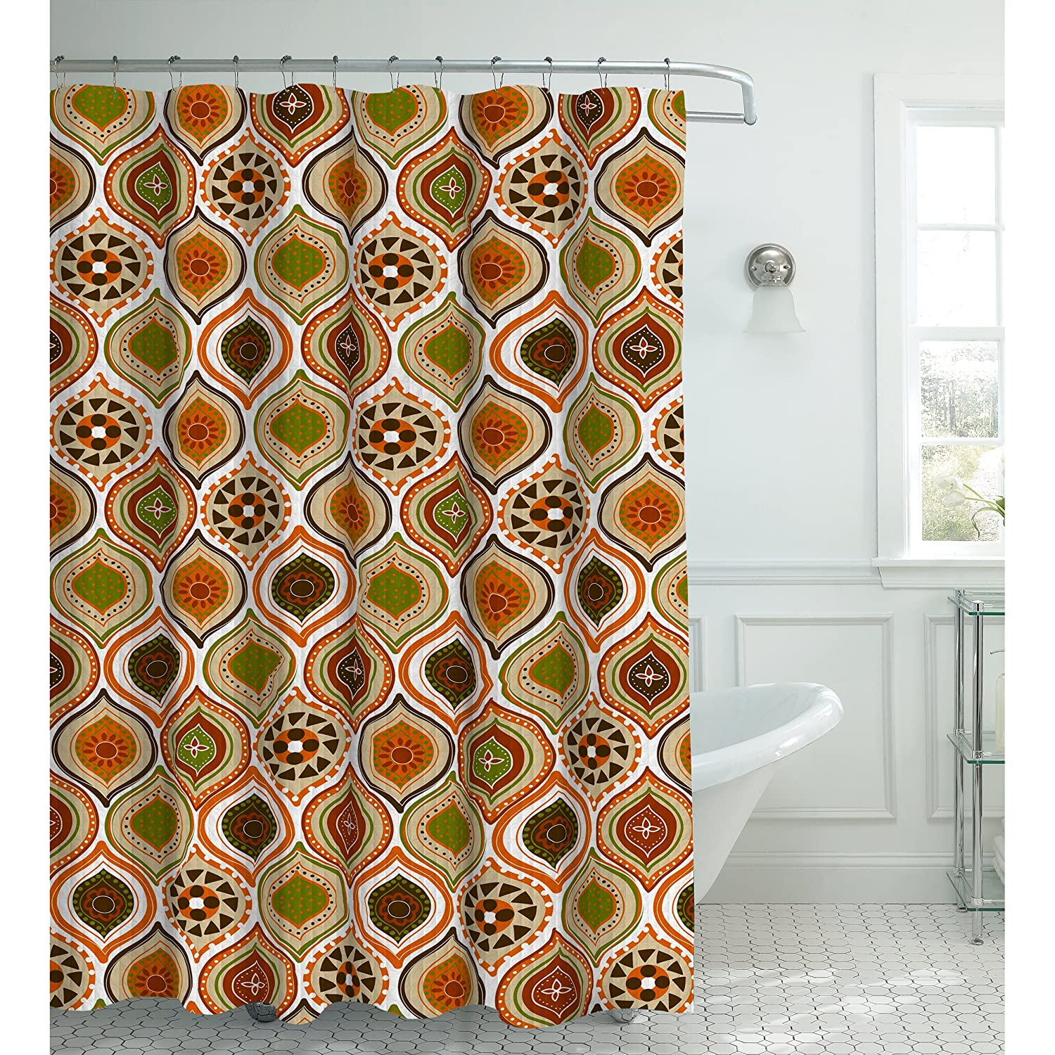 Creative Home Ideas Oxford Weave Textured 13-Piece Shower Curtain with Metal Roller Hooks, Olina Rust YMF Carpet Inc. YMC001374