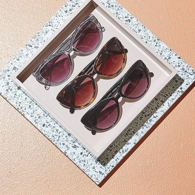 Have A Look Gafas de Sol para Mujer Cat Eye Smoke Diseño Danés Ojos de Gato Gris Semi Transparente