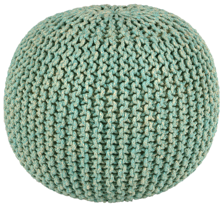 Pouf Ottoman 2-Tone Cotton Rope Pouf Ottoman, Blue, 16-Inch