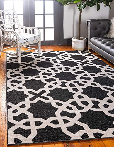 Unique Loom Trellis Collection Geometric Modern Black Area Rug 9 0 x 12 0