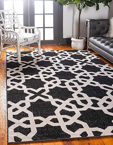 Unique Loom Trellis Collection Geometric Modern Black Area Rug 9' 0 x 12' 0