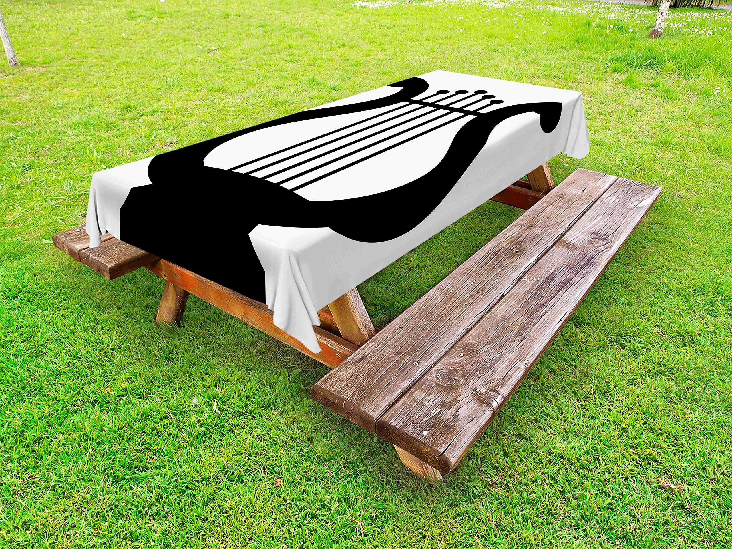 Lunarable Lyre Outdoor Tablecloth, Greek Classical Antique Harp Ancient Mesopotamia Culture Art Icon Forms Illustration, Decorative Washable Picnic Table Cloth, 58 X 104 inches, Black White